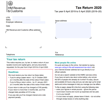 Image of 2019-2020 Self Assessment Tax Return
